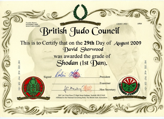 Judo Black Belt Certificate